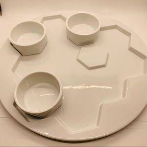 NWOT Serving Tray w/ 3 dishes for condiments etc.